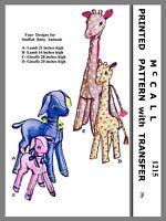 Vintage McCall Stuffed Animal Lamb Giraffe Fabric material sewing Pattern #1215