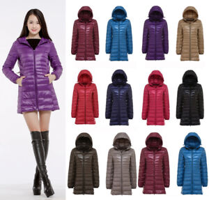 Womens Duck Down Jackets Hooded Coats Padded Quilted Outwear Warm Puffer S-6XL