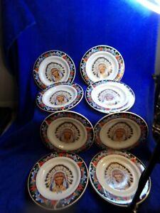 Tienshan Native American Indian Chief Lot of 8 Salad Plates