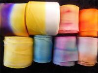 "100% Silk Ribbon-Hanah Hand-Dyed, Bias-Cut 2 1/2"" Wide Priced per Yard"