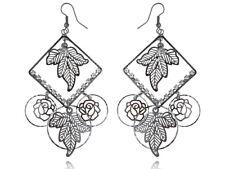 Fashion Vintage  Alloy Flower Leaves Pattern Dangle Earrings Studs Jewelry gift