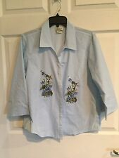 Distinct, Woman's Medium, Button Down, Blouse, Blue & White With Flowers