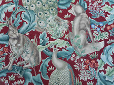William Morris Curtain/Upholstery Fabric 'FOREST' 1.7 METRES (170cm) Red Linen