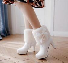 Womens Ladies Fashion Faux Fur Bow Tie Platform High Heel Ankle Boots Shoes Sea1