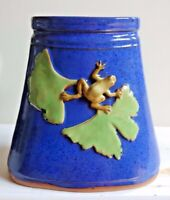 """Alexis Moyer Cobalt Blue Ceramic Pottery Vase with Frogs 7"""" Tall Arts & Crafts"""