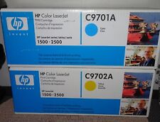 LOT OF (2) HP COLOR LASERJET 1500-2500 CARTRIDGES C9701A/CYAN & C9702A/YELLOW
