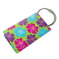 Tropical Flower Hibiscus Pattern Suitcase Bag ID Luggage Tag Set