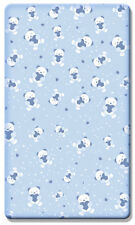 Printed Cot Fitted Sheet 100% Cotton Jersey (120 x 60 cm) - Cute Teddy Bear Blue