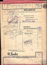 Eilfrachtbrief von Avenwedde Westf. nach Berlin Lehrt. Bahnhof, 1936