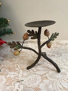 Metal Acorn & Leaves Candle Holder Home & Garden Decor- Free Standing