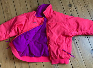 Vintage COLUMBIA neon pink / purple reversible down puffer ski jacket L 14-16