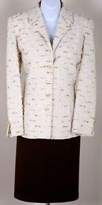 ST.JOHN Womens Knit Cream Brown White Metallic Boucle Jacket Skirt Sz 12-14