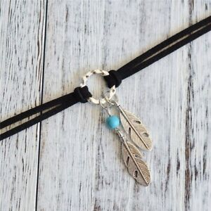 Leather Choker Necklace Antique Silver Color Feather Charm Bohemian Jewelry Gift