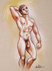 Original Male Nude  Pastels Drawing Sketch Figure 2021