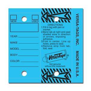 BLUE Genuine Versa-Tag Key Tags, Self-Protecting 250 tags per box