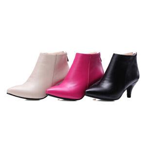 Women's Ankle Boots Ladies Kitten Heels Zip Pointed Toe Comfort Work Party Shoes