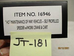 JT-181 Bachmann Spectrum 16946 Maint of Way Self Propelled Speeder W/Cart & Cran