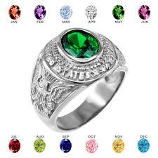 Fine .925 Sterling Silver US Army Men's CZ Birthstone Ring