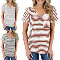Womens V Neck Striped Short Sleeve Tops Ladies Casual Loose Pocket T Shirt Tunic