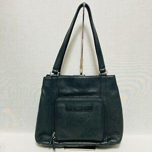 FOSSIL Classic Genuine Black Leather Handbag Purse Lg Hobo Shoulder Bag Pebbled