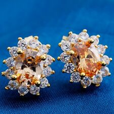 Fashion Oval Cubic Zircon Design Yellow Gold Filled Women Lady Stud Earrings