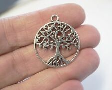 4 Metal Antique Silver Tree of Life Charms Pendants - 29mm