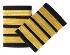 Pilot Epaulettes 4 Bar Gold  Captain Airline Officer Costume Uniform Fancy Dress