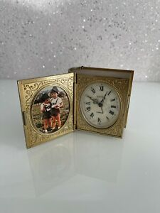 Antique Europa 2 Jewel Clock Gold Pearl Vintage Old Rare TRAVEL ALARM Photo Book