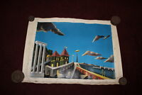 Vintage Original Surrealist Oil Painting Mexico? Signed Color Clouds Bridge