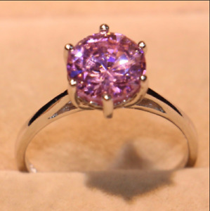 2Ct Round Cut Pink Sapphire Women's Wedding ,Engagement Ring 14K White Gold Over