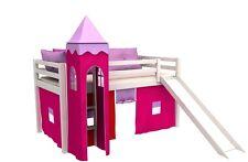 Cama de juego,cama para niños,de alta,cama con tobogan,torre,cortinas,colchón,
