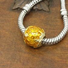 1pcs gold honeycomb European Charm Beads Fit 925 Pendant Bracelet Necklace