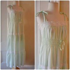 True Vintage 70s Cotton SUMMER DRESS Tiered Ruffle Sz S M Lace Mint