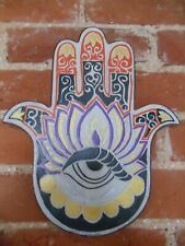 Hamsa Hand Fatima Wall Plaque Fair Trade Wood Eye Protection Good Luck Boho Gift