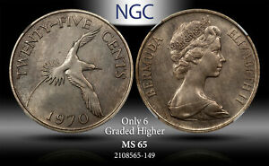 1970 BERMUDA 25 CENTS NGC MS 65 ONLY 6 GRADED HIGHER #B