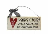 """Nana's Kitchen Open 24 hrs Wood Wall Hanging Decorative Plaque 10""""x 4"""""""