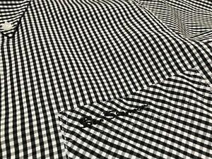 Ben Sherman Men's Stretch Checked Black / White Long Sleeve Shirts Size S