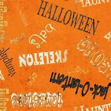 SPOOKY SPECTACULAR ORANGE WORDS HALLOWEEN FABRIC