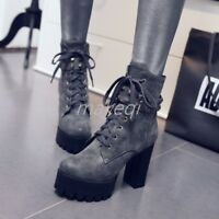 Punk Womens Rivet Lace Up Block Heel Ankle Boots Booties Shoes US4-13 Motor Lady