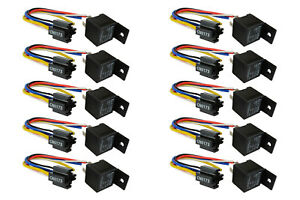 10 LOT TEMCo 12 V 30/40 Amp Bosch Style S Relay with Harness Socket Automotive