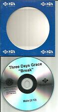 THREE DAYS GRACE Break Ultra Rare TST PRESS 2009 USA PROMO Radio DJ CD single 3