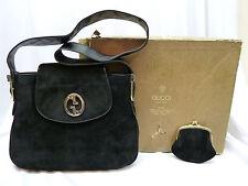 1970's  AUTHENTIC GUCCI BLACK SUEDE HANDBAG & COIN Make-up WALLET Gucci BOX