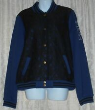 Victoria's Secret Pink Limited Edition Lace Trim Varsity Jacket Blue & Black L