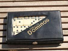 Jeux de dominos Double six set voyage étui simili cuir noir vintage