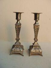 Rare paire de bougeoirs anciens en régule argenté - début XIXe siècle