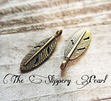 Feather Charms Pendants Antiqued Bronze Feather Charms Bronze Feathers 10 pcs