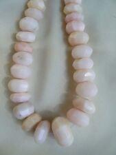"Peruvian Pink Opal Rondelle Faceted Beads 17"" graduated strand Handmade in Peru"