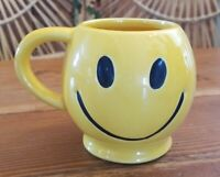 Vintage 1960s McCoy Pottery 14 oz Smiley Face Mug Cup Yellow Groovy
