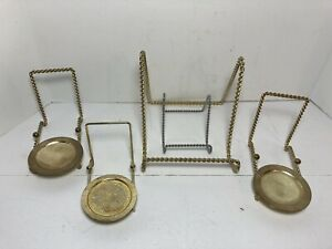 Lot Of 3 Tea Cup & Saucer Display Stands 2 Easel Display Brass Gold Silver