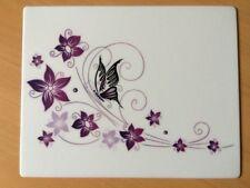 Mousepad Schmetterling auf Blume 24 x 19 cm lila / weiß Mauspad